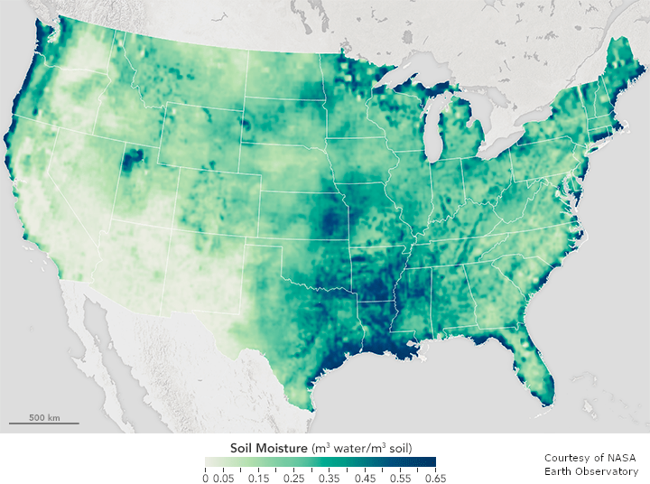 USA map with soil moisture indicated in varying shades of green.