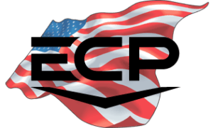 ECP logo over red, white and blue American flag graphic