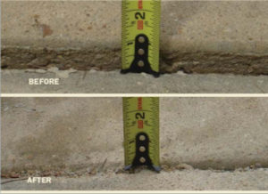 Before and after images with a tape measure showing the inches that concrete has been lifted.