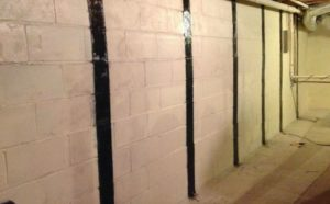 White block basement wall with black vertical Rhino Carbon Fiber strips.