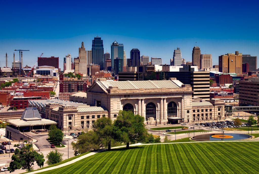 Kansas City Missouri Union Station and city skyline